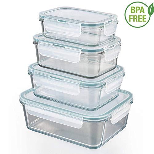 GOURMETmaxx Z 01821, Contenedores de almacenamiento de vidrio para alimentos, anillo de...