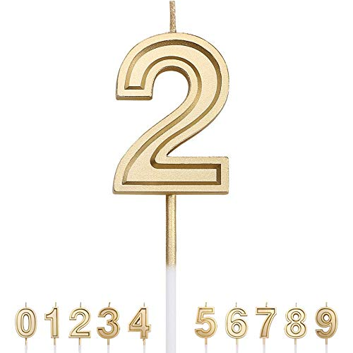 Gesentur Birthday Candle Numbers Gold Glitter Happy Birthday Numeral for Weddings, Reunions, Theme Party Perfect Baby's Pet's Birthday Cake Candle (Number 2)