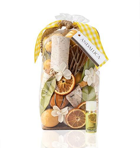 ANDALUCA Lemon Zest & Thyme Scented Potpourri | Made in California | Large 20 oz Bag + Fragrance Vial | Citrus Spice Scent