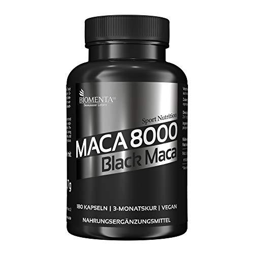 BIOMENTA Maca 8000 - Maca hochdosiert – Schwarzes Maca aus Peru - 180 Black Maca Kapseln - 3 Monatskur – vegan - Pures Maca Extrakt aus Maca Pulver