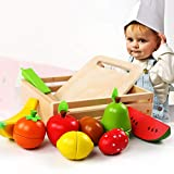 MatSailer Holzspielzeug Rollenspiel für Kinder Küche,Holzspielzeug für Kinder Schneiden von Obst Spielzeugset, Spielzeugnahrungsmittel Spielküche Rollenspielspielzeug für Kinder mit Einer hölzernen