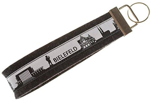 Bielefeld Schlüsselband aus Filz | Skyline Bielefeld in schwarz-Weiss | Geschenk für Damen und Herren | Filz 100% Wolle (Merinowolle)