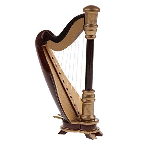 Miniatur Musik Instrument mit Box Set für 1/12 Puppenhaus Musikzimmer Deko - Harfe