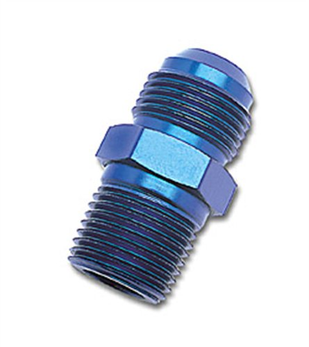 "Russell 660460 Blue Anodized Aluminum -6AN Flare to 3/8"" NPT Pipe Adapter"