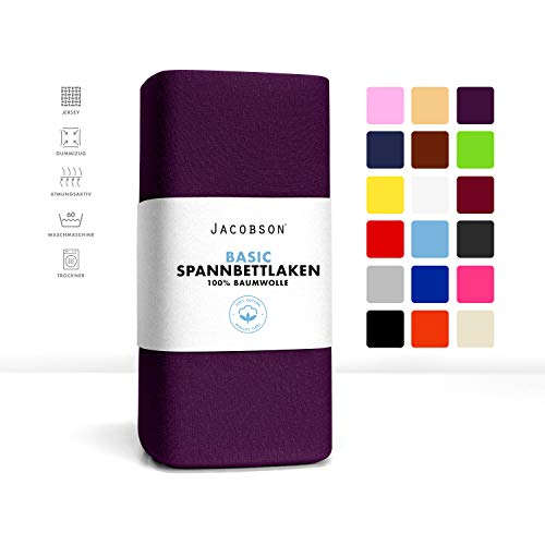 Jacobson Jersey Spannbettlaken Spannbetttuch Baumwolle Bettlaken (90x200-100x200 cm, Royal Lila)