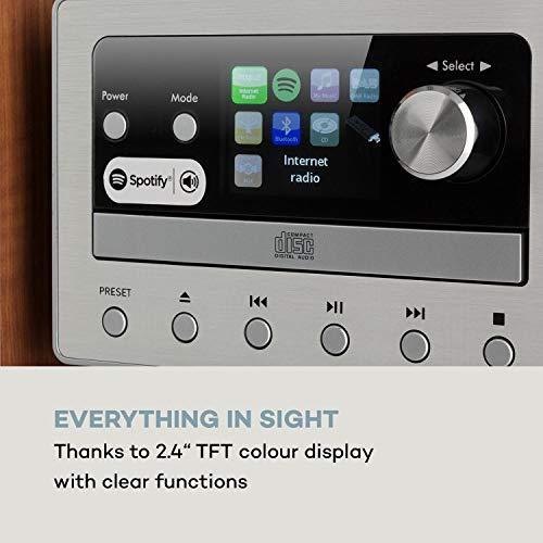 auna Connect - Kompaktanlage, HiFi System, Stereoanlage, Musikanlage, Internet, DAB+, FM Radio, 80 W max. CD-Player, USB-Port, Bluetooth, Spotify Connect, Infrarot-Fernbedienung, Silber