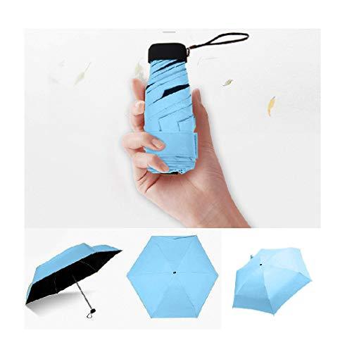 XIANBAO Small Mini Portable 5-Folding Slim Pocket Flat Umbrella, Travel Mini Umbrella , Sun Rain - Compact Parasol Outdoor Travel Umbrella Lightweight Small and Compact for Pocket (Blue)