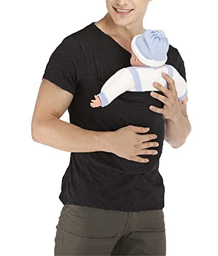 Men's Kangaroo Care Dad T-Shirt Soothing Short Sleeve Shirts Baby Wrap Carrier Skin-to-Skin Pocket Daddy Tank Top (Black, X-Large)