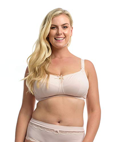 The Essential Nursing Bra: Women's Plus-Size/Full Bust Wire-Free Maternity/Breastfeeding Bra. Blush. 40L (USA) / 40HH (UK)