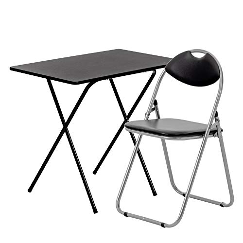 Harbour Housewares 2 Piece Folding Desk and Chair Set - Small Modern Home Office Workstation for PC Laptop Study - Wooden Top - Black/Black