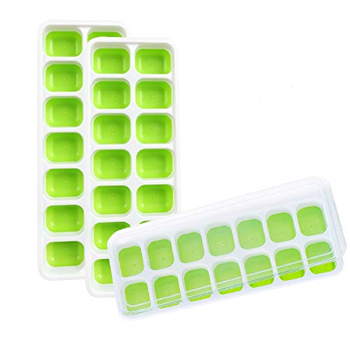 3 Pack Ice Cube Trays, Silicone Ice Cube Molds with Lids Easy Release, Flexible and BPA Free Ice Tray with Spill-Resistant Removable Lid for Whiskey, Cocktail, Dishwasher Safe - Green