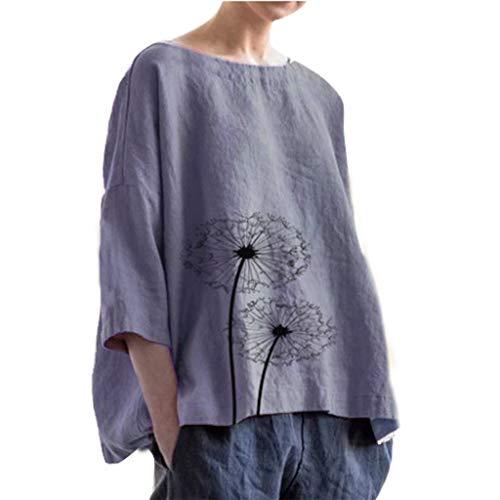 Damen Bluse Sommer Große Größen,Frauen Casual Plus Size Solide Print Polyester Leinen Lose Tägliche Bluse Strand Shirt Tops Damen Kurzarm Sommer T-Shirt Tops