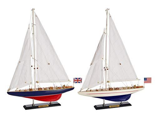 SAILINGSTORY Wooden Sailboat Model, Sailboat Decor Model Boat Decoration Endeavour Enterprise Set of 2 Pack