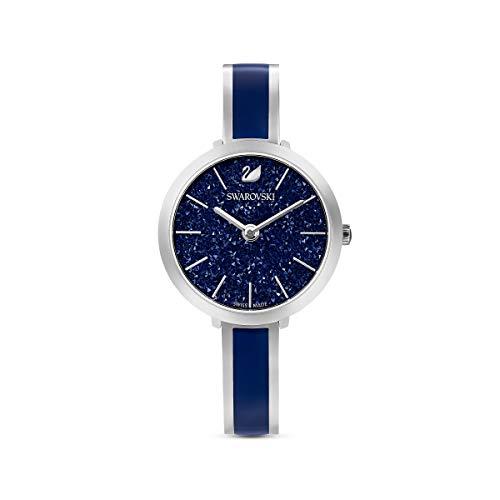 Swarovski Relógio feminino de quartzo suíço de aço inoxidável com pulseira de metal, Delícia cristalina, Azul