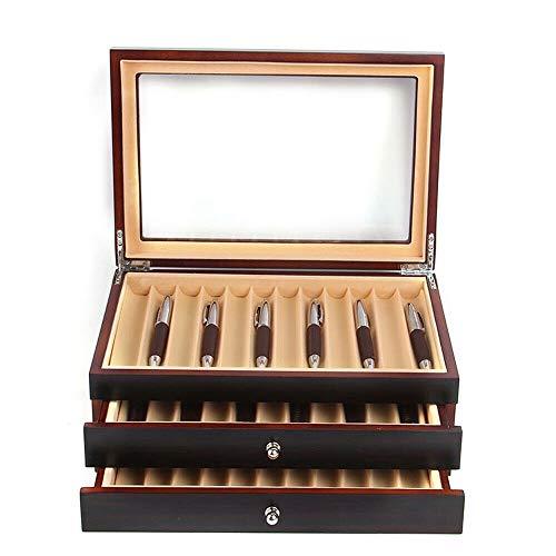 Stiftebox Holz für 34 Füller Stifte Kugelschreiber Federhalter Display Box Organizer Box mit Glasfenster Drei Ebene Vitrine mit Schubladen
