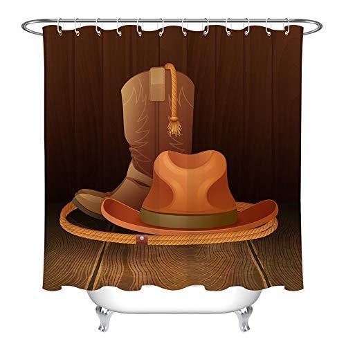 ZZZdz Cowboyhoed, laarzen, touwen. Douchegordijn. 180 x 180 cm. 12 vrije haken. Huisdecoratie. 3D Hd-druk. Eenvoudig te reinigen. Badkameraccessoires.