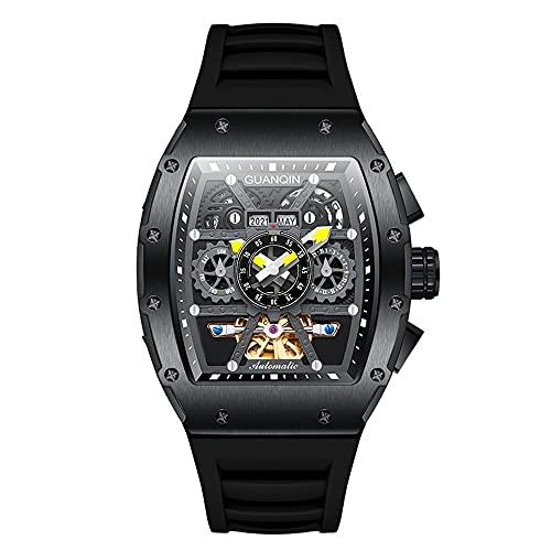 GUANQIN Reloj de pulsera automático para hombre, diseño de Tourbillon Tonneau, impermeable, ajustable, correa de silicona para negocios, luminoso, cristal de zafiro multifunción, negro, M, 43mm,