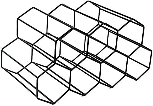 YRHH Estante de Vino de Metal Cepillado de diseño geométrico Estante de Vino Estante de Almacenamiento de Botellas de Vino armarios para mostrador de Barra de Cocina