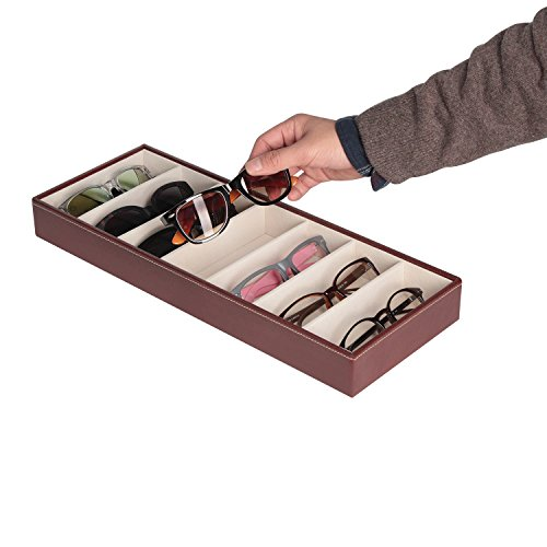 JackCubeDesign Leather 7 Compartimentos Eyeglass Display Organizer Anteojos Sunglass Storage Case Caja Eyewear Tray Stand Open Top Suede Inside (Marrón, 44.2 x 17 x 5cm) -: MK378B