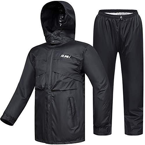 ILM Motorcycle Rain Suit Waterproof Wear Resistant 6 Pockets 2 Piece Set with Jacket and Pants Fits Men (Men's Large, Navy Blue)