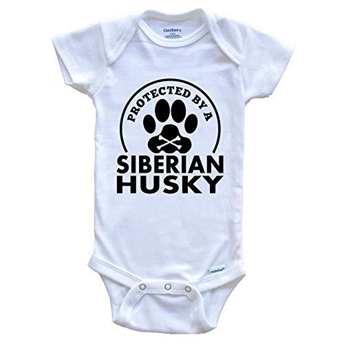 ECNM56B Protegido por un Mono de bebé Divertido de Husky Siberiano