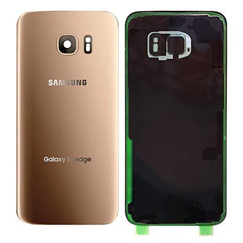 MovTEK Tapa Trasera de Cristal de Batería Trasero Original para Samsung Galaxy S7 Edge G935F con Lente de Cámara Oro