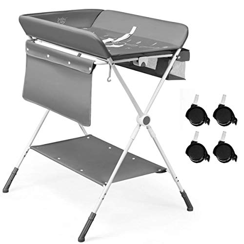 GYMAX Baby Bath and Changing Unit with Cloth Hanging Rail, Shoe Rack and Lockable Casters, Height Adjustable and Folding Changing Station (Grey)