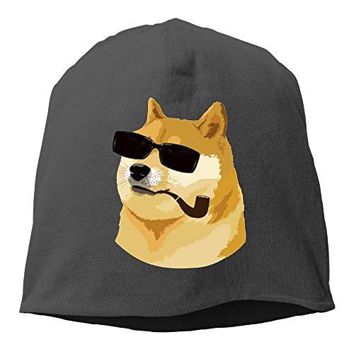 NA Deus God Doge Shiba Inu Wintermütze mit Totenkopf-Motiv, warm, gestrickt, langlebig