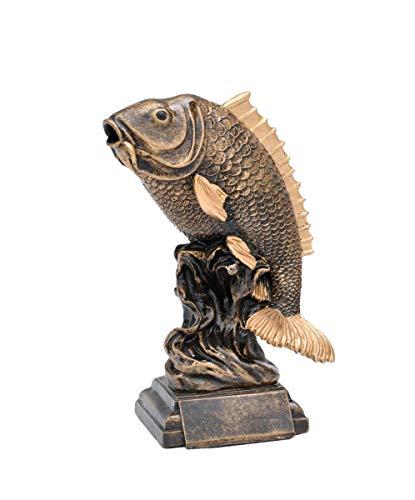 Henecka Angeln-Pokal, Angeln-Resinfigur Fisch, altgold, mit Wunschgravur, Größe 26 cm