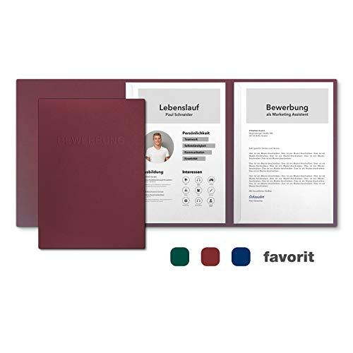 5 Stück 3-teilige Bewerbungsmappen favorit 'Berry Red' mit 2 Klemmschienen - Premium-Karton mit eindrucksvoller Relief-Prägung BEWERBUNG - Produkt-Design von Mario Lemani