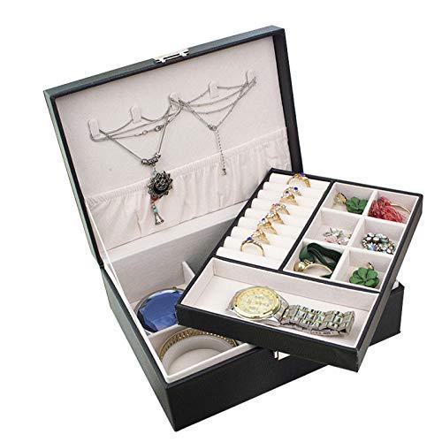 Caja de joyería para mujeres con bloqueo y bandeja extraíble Mostrar joyería Organizador Caja de almacenamiento PU Mostrar caja para pendientes Pulseras Anillos Collar para mujer Chicas-Black