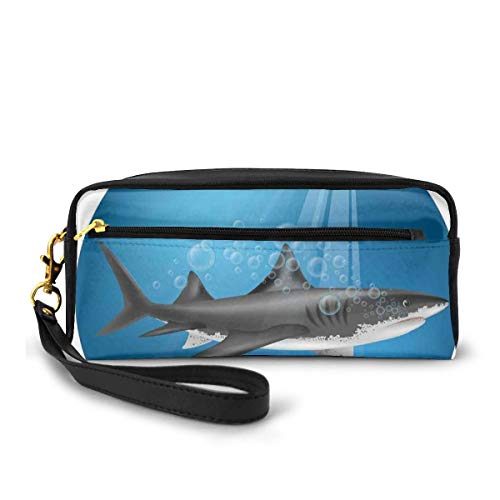 Pencil Case Pen Bag Pouch Stationary,Shark in Sea with Sun Rays in Circle Aquatic Underwater Creature Home Decor,Small Makeup Bag Coin Purse