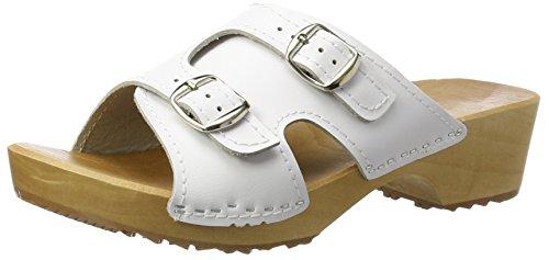 Sandalias de Mujer de Madera y Cuero Mules Zuecos Sandalias con tacón sin Cordones (Blanco, Numeric_36)