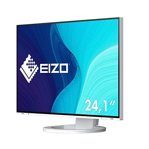EIZO FlexScan EV2495-WT 61,1 cm (24,1 Zoll) Monitor (HDMI, USB 3.1 Hub, USB 3.1 Typ C, RJ-45 LAN, DisplayPort, 5 ms Reaktionszeit, Auflösung 1920 x 1200) weiß