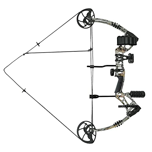 PIIDOT Compound Bow, Camo Archery Hunting Bow Set for Adult and Teens with Adjustable Draw Weight 30-75lbs, 5 Pins Bow Sight, Right Hand