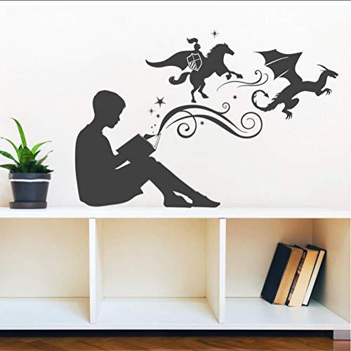 Adesivo da parete in vinile con scritta 'Boy Reading', per case, camerette dei bambini, scuole, aule, biblioteche, camere da letto, 96 x 65 cm