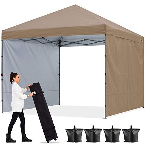 ABCCANOPY 2x2M Pavillon Outdoor Easy Pop-up-Überdachungszelt mit 2 Seitenwände,Central Lock-Serie,Khaki