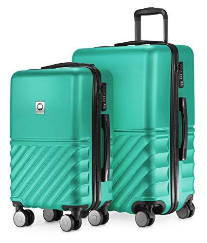HAUPTSTADTKOFFER - Boxi - 2er Kofferset Trolley-Set Rollkoffer Reisekoffer Handgepäck und mittelgroßer Koffer (55/65 cm), ABS-Hartschale TSA, 4 Spinner-Doppelrollen, Türkis