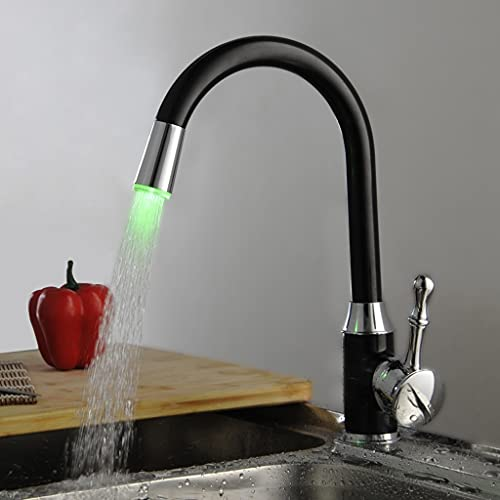 WFSH Grifo Fregadero Cocina Grifo de luz LED Negro, grifos de Cocina de baño, disipador Giratorio Sensor de Temperatura Color LED Mezclador Toque Grifo de Fregadero en Agua Caliente y Fría