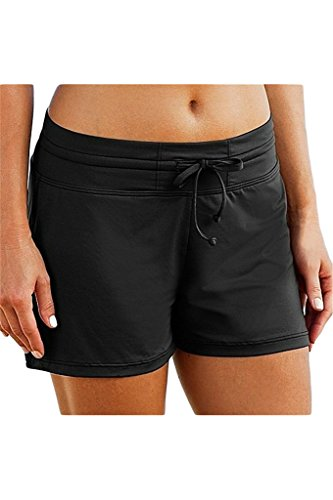 Micosuza Women's Swimming Shorts Bikini Bottom Swimwear Beach Board Shorts Black