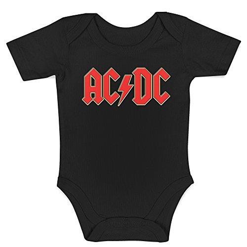 LaMAGLIERIA Baby Body ACDC 3D Logo - Body 100% Cotone Neonato, 6-12 Mesi, Nero