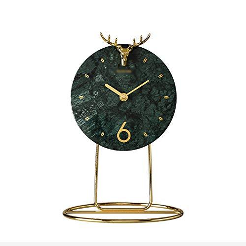 Decorativo Reloj Reloj de escritorio de mármol moderno y elegante, sala de estar de la sala de estar del hogar reloj de escritorio creativo, movimiento silencioso preciso tiempo de tiempo Reloj de Mes