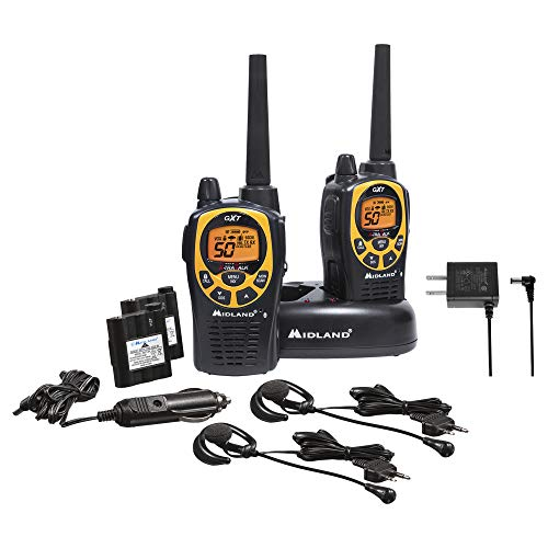 Midland 50 Channel Waterproof GMRS Two-Way Radio - Long Range Walkie Talkie with 142 Privacy Codes, SOS Siren, and NOAA Weather Alerts and Weather Scan (Black/Yellow, Pair Pack)