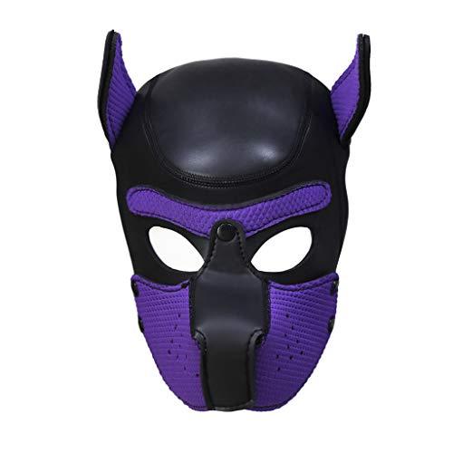 Watopi - Máscara para Cachorro de Cosplay Sexy, máscara para Jugar al rol íntimo para Perro con Cabeza Completa, Acolchada, de Goma, para Fiesta de Halloween