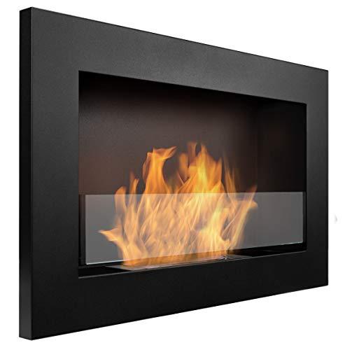Bio cheminée noir mat SLIM 65x40cm. Cheminée au bioéthanol à suspendre directement au mur ou à monter dans une ouverture murale. Biocheminée avec verre. Cheminée bio éthanol suspendue