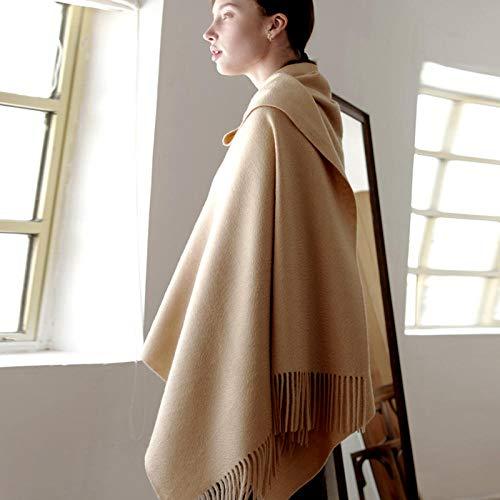 ZAMi Wollschal Dicker Schal Warmer schwarzer Herbst und Winter weibliche einfarbige Lange Lätzchen mit doppeltem Verwendungszweck-Kamel