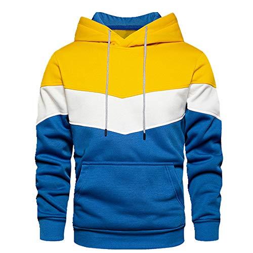 Sudadera con capucha para hombre patchwork otoño suéter amarillo