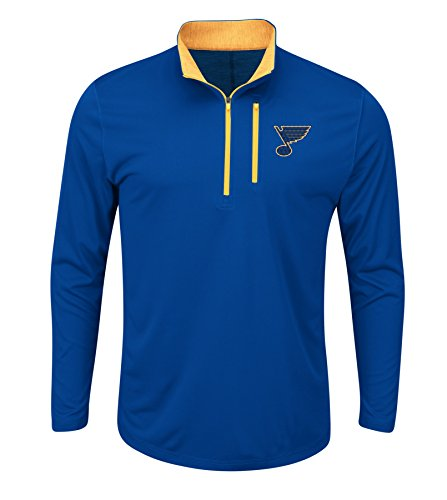 NHL St. Louis Blues Good Work Long Sleeve 1/2 Zip Mock Neck Tee, Large, Deep Royal Blue Yellow Gold Yellow Gold