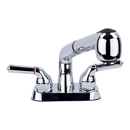 Universal Laundry Tub Faucet by VETTA, Double Handle Pull Out Spray Spout, Non-Metallic ABS Plastic, Chrome Finish