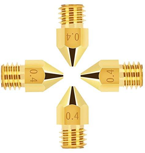4x 0.4mm 3D Printer MK8 Boquillas de latón para filamento de 1.75mm